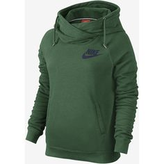 Nike Rally Funnel Neck Pullover Women's Hoodie. Nike.com (93 AUD) ❤ liked on Polyvore featuring tops, hoodies, sweatshirt hoodies, funnel hoodie, nike hoodies, green hoodie and hoodies pullover