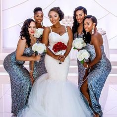 We're in awe of this stunning bride and bridal party! @layersofstyle you looked amazing on your big day! #beautifulbride #bridalparty #wedspiration #tripleb #blackbridalbliss