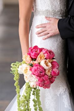 Pretty Pink Peony and Blush Cabbage Rose Bouquet | Kristen Weaver Photography on @fabyoubliss via @aislesociety