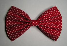Red and White hearts Hair Bow ,Blue hair bow , Hair Bow for teens and women, Kids hair bows. $3.99, via Etsy.