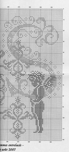 S - cross stitch Stitch And Angel, Cross Stitch Angels, Cross Stitching, Cross Stitch Embroidery, Crochet Designs, Crochet Patterns, Angel Silhouette, Crochet Angels, Monochrom