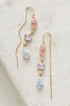 Caterpillar Stone Threader Earrings - UNDER $50