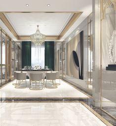 ideas for decor bedroom green curtains Villa Design, Floor Design, Ceiling Design, House Design, Elegant Dining Room, Luxury Dining Room, Dining Room Design, Classic Interior, Luxury Interior