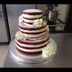 Naked red velvet wedding cake by A Cupcake Wonderland - Non traditional and it would show the gorgeous colour of the cake! http://www.acwphilly.com/2012/11/naked-wedding-cakes-now-at-acw/249448_10151106027112476_664616901_n-1/