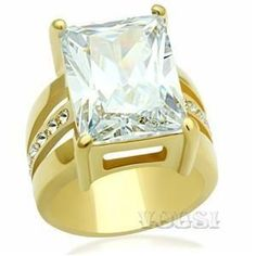 Womens IP Gold Clear Cubic Zirconia Ring RI0G-06183