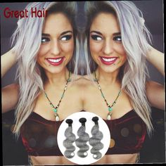 132.00$  Buy now - http://alijnv.worldwells.pw/go.php?t=32442909962 - #1b/gray hair extensions boby wave 3pc/lot ombre brazilian hair weave ombre gray hair free shipping silver hair 132.00$