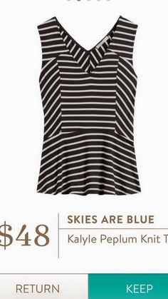 Dear Stitch Fix Stylist - I really love peplum tops and this striped one would work for work or casual! Skies are Blue - Kalyle Peplum Knit Top