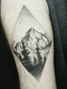 By Alex Tabuns | Russia | #Blackwork #Tattoo #Dotwork #Landscape #Mountains
