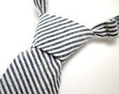 Necktie for Newborn, Infant, Toddler, Boy - Navy Blue Seersucker