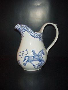 Spode Edwardian Childhood Pitcher Alphabet Horses Made England Blue