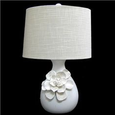 "23"" White Ceramic Lamp with Flower on Base 
