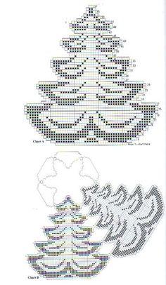 8 Carpetas de Navidad Tejidas en Crochet - Manualidades Y DIYManualidades Y DIY Filet Crochet, Crochet Motif, Crochet Doilies, Crochet Stitches, Knit Crochet, Doily Patterns, Beading Patterns, Cross Stitch Patterns, Crochet Christmas Ornaments