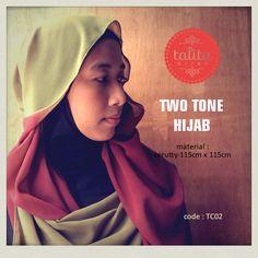 Two Tone : Terracotta Brown & Avocado Green - square #hijab