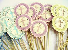 """Paletas Tortas y Cupcakes """"Cruz Dots"""" (12 unid.) de Taller de Papel por DaWanda.com"""