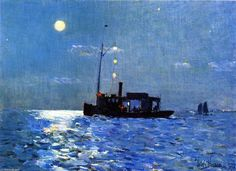 Isle of Shoals, Moonlight Frederick Childe Hassam - 1890 Fitchburg Art Museum (United States) Painting - oil on canvas Height: cm in. Claude Monet, Nocturne, Art Prints For Sale, Fine Art Prints, American Impressionism, Richard Diebenkorn, Edward Hopper, Impressionist Paintings, Oil Paintings