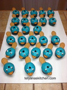 (So exciting that I want to all-caps it) Perry the platypus cupcakes using nutter butters and nillas!  So FRACKING brilliant!!