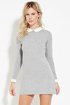 Wool Mix Dress with Collar - Dresses - 2000165111 - Forever 21 EU German White Collar Dress, White Dress With Sleeves, Peter Pan Collar Dress, Collared Dress, Cute Dresses, Beautiful Dresses, Casual Dresses, Short Dresses, 21 Dresses