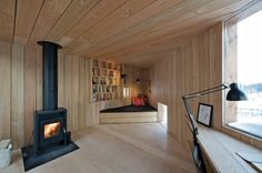 Norwegian architecture firm Jarmund/Vigsnæs Arkitekter designed Writer's Cottage, a tiny wooden cabin in Asker, Norway. Prefab Cabins, Tiny Cabins, Wooden Cabins, Cabins And Cottages, Sweet Home, Small Studio, Cozy Place, Interior Exterior, Contemporary Architecture