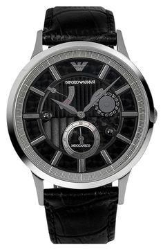 Emporio Armani Meccanico Automatic Leather Strap Watch, 43mm from Nordstrom on shop.CatalogSpree.com, your personal digital mall.