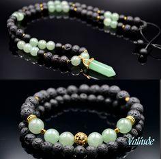 Natural Aventurine (green) And Lava Stone (black) Set for Men.