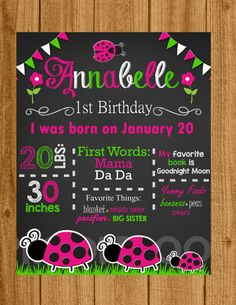 Ladybug 1st Birthday invitation hot pink and by welcometomystore