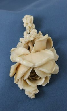 Victorian carved ivory rose pendant
