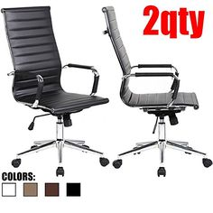 2xhome - Set of Two (2) - Black- Eames Modern High Back Tall Ribbed PU Leather Swivel Tilt Adjustable Chair Designer Boss Executive Management Manager Office Conference Room Work Task Computer