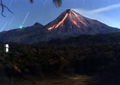 Volcan de Fuego and the lights of the observatory, Colima State, Mexico