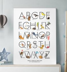 Personalised Children's Animal Alphabet Print by Over & Over, the perfect gift for Explore more unique gifts in our curated marketplace. Alphabet Board, Alphabet Print, Animal Alphabet, Kids Prints, All Print, Canvas Frame, Kids Learning, Cotton Canvas, Gifts For Kids