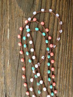 BohoStyle Czech Glass Bead Crochet Necklace by HoneyBeeJewelryVA, $17.00