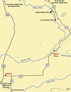 Mesa Falls Idaho map, hike