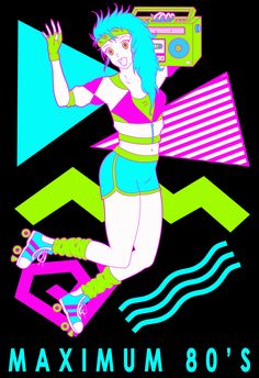 Our 'Maximum 80's' design inspired by our love of the greatest decade and anime. You'll look totally radical in this neon homage to 80's fashion. Available on multiple products from our RedBubble store now: http://www.redbubble.com/people/hundred2oneshot/shop #anime #manga #girl #80s #1980s #80's #neon #womens #fashion #design #tshirt