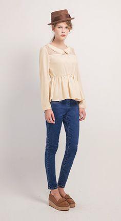 氣質珍珠點綴領拼接網紗公主袖上衣.2色/S.M.L,個性側拉鍊貼身牛仔長褲
