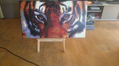 Tiger made of Hama Beads. 18952 beads, size 51cm x 90cm