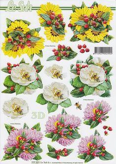 Le Suh Cut out sheet flowers 777 221 - Flowers 3d Paper, Paper Crafts, 3d Sheets, 3d Cards, Digi Stamps, Hobbies And Crafts, Vintage Postcards, Scrapbook Cards, Digital Image