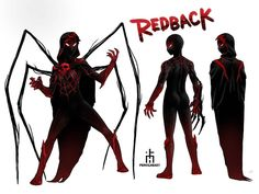 The New Spider-mans: Redback_I got another Redback! instead of a lab produced radioactive spider, she's bitten by a demonic spider and it gives her… Spiderman Girl, Spiderman Kunst, Amazing Spiderman, Marvel Comic Universe, Marvel Art, Marvel Comics, Alien Character, Character Art, Character Design
