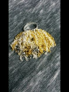 Fringe silver and gold chains with silver and gold crystals
