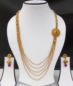 Indian Ethnic Jewelry Bollywood Necklace Earrings Gold Plated Long Ruby Set d120