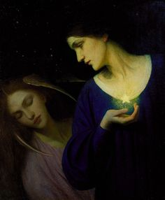 """""""Night and Her Daughter Sleep"""" by American Pre-Raphaelite-style artist Mary L. 1902 oil on canvas. In the collection of Smithsonian American Art Museum Museum and on display at The Renwick Gallery. Purchase made possible by Emily Tuckerman. Art And Illustration, Tableaux Vivants, Renaissance Kunst, Pre Raphaelite, Classical Art, Art For Art Sake, Oeuvre D'art, Dark Art, Wicca"""