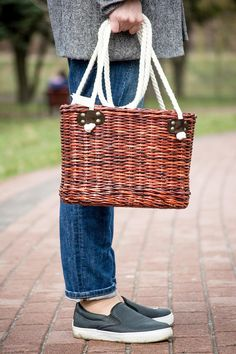 fül Wicker market bag Wicker purse Rope long handles Shoulder