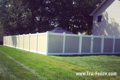Two-Tone PVC Fence Installation in Piscataway NJ  #fence fence contractor, fence company, www.tru-fence.com