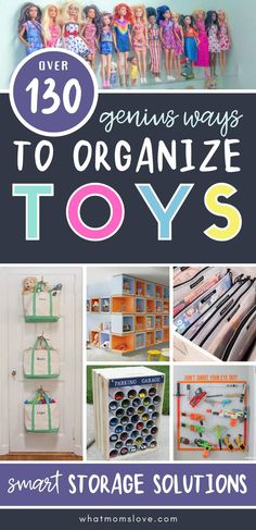 WOW! These genius toy storage ideas will eliminate clutter & keep your playroom, living room or small space organized. Hacks for LEGOs, Nerf, dolls, stuffed animals, cars, outdoor toys and more! Small Space Organization, Toy Organization, Toy Garage, Storage Solutions, Storage Ideas, Chores For Kids, Smart Storage, Outdoor Toys, Organizing Your Home