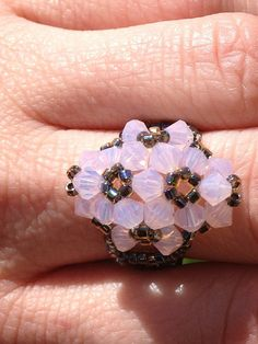 Swarovski Crystal Beaded Flower Ring by TheGirlCre8ive on Etsy, $20.00