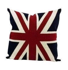 UNION JACK Strickkissen England Flagge Kissenhülle 50x50 Strick rot blau Kissen