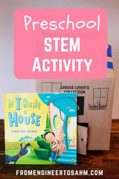 "A fun preschool STEM activity, inspired by Chris Van Dusen's ""If I Built a House"". After reading the story, our preschool class built our own house using a cardboard box! Steam Activities, Hands On Activities, Craft Activities For Kids, Preschool Activities, Kids Crafts, Cars Preschool, Numbers Preschool, Preschool Class, Kindergarten"