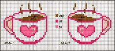 2 mini cross stitch cups a love