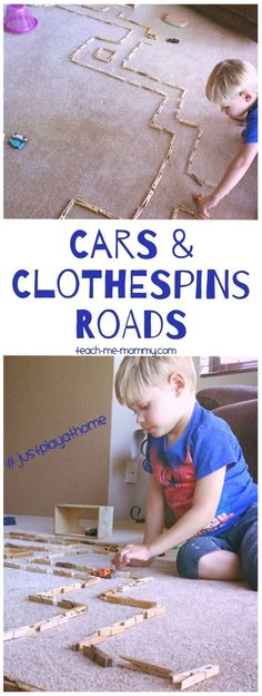 Cars and Clothespins Roads, frugal fun at home! #justplayathome