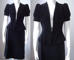 SOLD 1940s dress / black velvet two piece / 40s by StardustVintagestore, £135.00