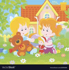 Little girls playing on a front lawn vector image on VectorStock A Cartoon, Cartoon Styles, Summer Days, Summer Time, Adobe Illustrator, Lawn, Vector Free, Little Girls, Royalty