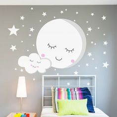Decorative vinyl Moon and stars. Wall sticker to decorate baby room. Decoration Bedroom, Teen Room Decor, Room Wall Decor, Baby Decor, Baby Bedroom, Girls Bedroom, Kids Room Wall Art, Kids Room Design, Girl Room